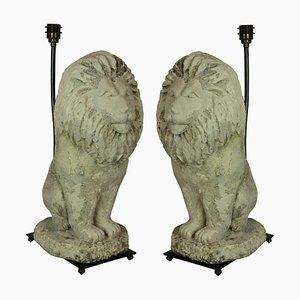 Vintage Stone Lion Table Lamps, Set of 2