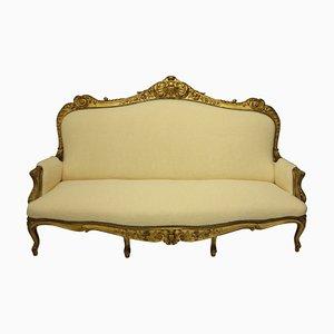 Großes englisches Sofa aus vergoldetem Holz, 19. Jh