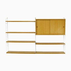 Mueble de pared vintage de fresno de Kajsa & Nils Strinning para String, años 60