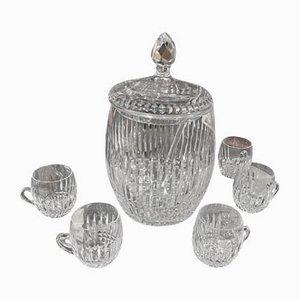 St Louis Punch Service aus Kristallglas mit Schale und Schöpfkelle, 6er Set