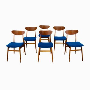 Chairs in Wood and Remoder Fabric, 1960s, Set of 6