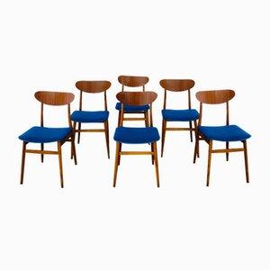 Sedie in legno e tessuto, anni '60, set di 6