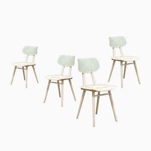 Stühle in Grün & Weiß von Michael Thonet für Ton, 1960er, 4er Set
