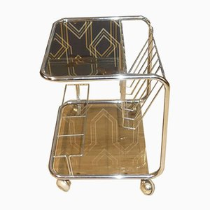 Bar Cart Smoking Table in Chrome and Glass, 1970s