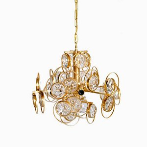 German Vintage Chandelier in Crystal & Gold-Plated Brass by G. Sciolari for Palwa, 1960s