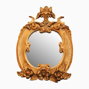 19th Century Antique Gilt Wooden Wall Mirror Carved with Fruit Pediment and Scrolls
