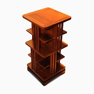 Teak Small Square Tiered Revolving Bookcase with Slatted Sides, 1960s