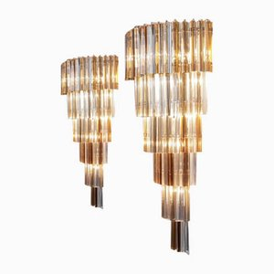 Large Wall Sconces with Trilobi Glass, Italy 1980s, Set of 2
