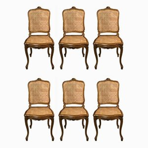 Louis XV Style Chairs in Solid Walnut, 1940s, Set of 6