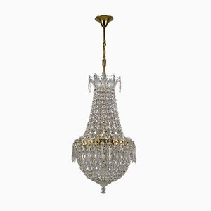 Crystal Glass and Brass Basket Chandelier
