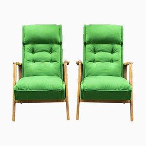 Armlehnstühle aus Holz & Stoff von Gmc, 1960er, 2er Set