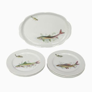 Porcelain Fish Dishes and Tray Set, 1960s