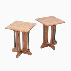 Art Deco Haagse School Side Tables in Oak by P.E.L. Izeren for De Genneper Molen, 1920s, Set of 2