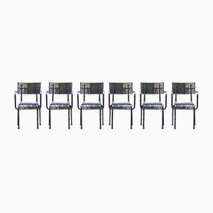 Französische Stühle aus perforiertem Eisen, 1940er, 6er Set