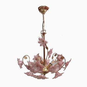 Brass Chandelier with Pink Murano Glass Flowers, 1970s