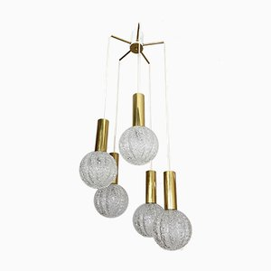 Mid-Century Glass and Brass Cascade Ceiling Lamp by Egon Hillebrand for Hillebrand Lighting, 1970s