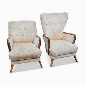 Cream Mama and Papa Cocktail Armchairs with Beech Armrests, England, 1950s, Set of 2