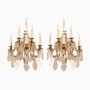Antique French Crystal & Gilt Bronze Chandelier Sconces by Maison Charles for Maison Baguès, 19th Century, Set of 2