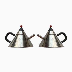 Japanese Postmodern Stainless Steel Kettle, Set of 2