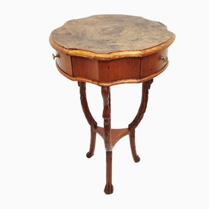 Carved Wooden Auxiliary Table, Spain, 1950s