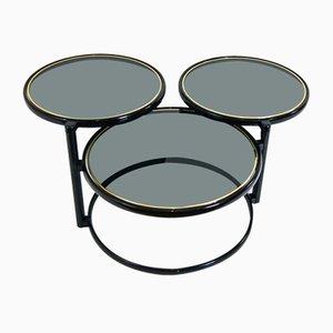 Milo Baughman Style Smoked Glass Nesting Table