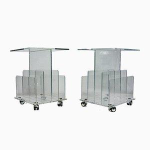 Tavolini in acrilico trasparente, set di 2