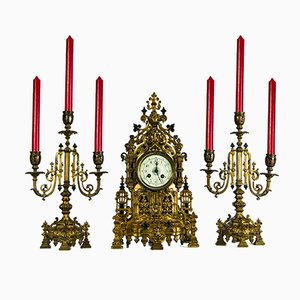 Antique Mantle Clock and Garnitures Set from Japy Frere, 1870s, Set of 3