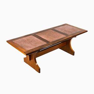Tavolino da caffè grande in rame martellato e teak di G-Plan
