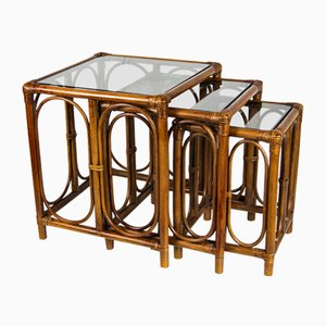 Mid-Century Bamboo Cane and Glass Nesting Tables, Set of 3