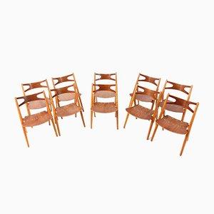 Mid-Century Modern Sawbuck CH-29 Chairs by Hans J. Wegner for Carl Hansen & Søn, 1950s, Set of 10