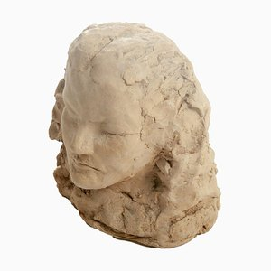 Terracotta Sculpture of Woman's Head, France, 20th Century