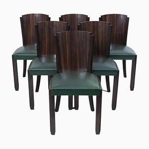 Französische Art Deco Macassar Esszimmerstühle, 1930er, 6er Set