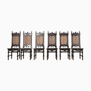 Gothic Revival Stühle, 19. Jh., 6er Set