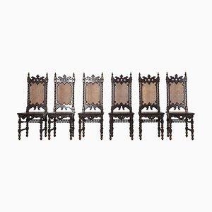 Sedie neogotiche, XIX secolo, set di 6