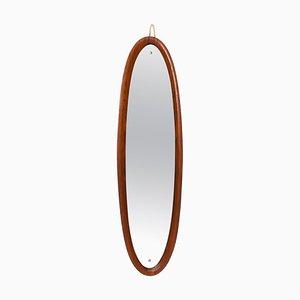 Specchio da parete in teak, Italia, anni '50
