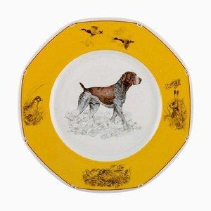 Chiens Courants & Chiens D'Arret Porcelain Plate by Hermès, Late 20th Century