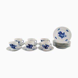 Blue Flower Braided Espresso Service for 6 People from Royal Copenhagen, Mid-20th Century, Set of 18