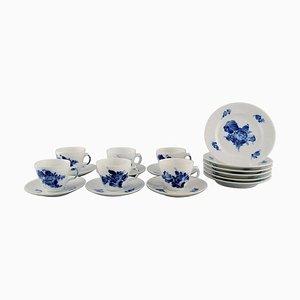 Blue Flower Espresso Service für 6 Personen von Royal Copenhagen, Mitte des 20. Jahrhunderts, 18er Set