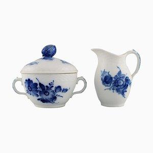 Blue Flower Braided Sugar Bowl and Cream Jug from Royal Copenhagen, 1960s, Set of 2