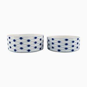 Bols Corinth en Porcelaine Peinte en Bleu par Tapio Wirkkala pour Rosenthal, Set de 2