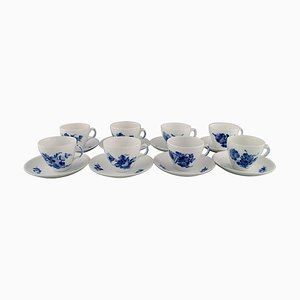 Blue Flower Braided Coffee Cups with Saucers from Royal Copenhagen, Mid 20th Century, Set of 16