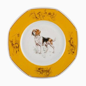 Piatto Chiens Courants & Chiens D'Arret in porcellana di Hermès, fine XX secolo