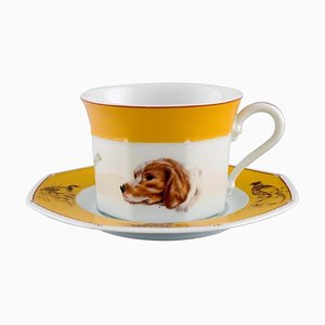 Chiens Courants & Chiens D'Arret Porcelain Morning Cup with Saucer in Porcelain by Hermès, Set of 2