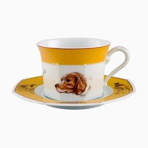 Tazze Chiens Courants & Chiens D'Arret in porcellana con piattino di Hermès, set di 2