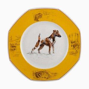 Assiette Chiens Courants & Chiens d'Arret en Porcelaine par Hermès, Fin 20ème Siècle