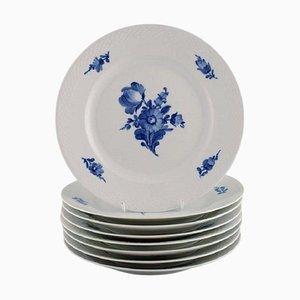 Blue Flower Braided Model Number 10/8097 Dinner Plates from Royal Copenhagen, Set of 8