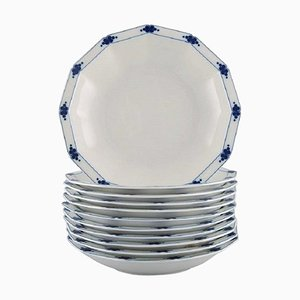 Deep Corinth Plates in Blue Painted Porcelain by Tapio Wirkkala for Rosenthal, Set of 11