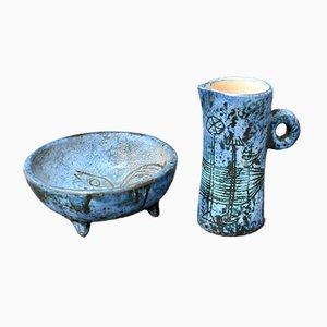 Französische Vintage Keramik von Jacques Blin, 1950er, 2er Set