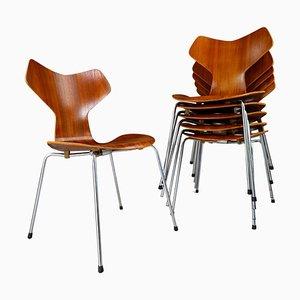 Grand Prix Esszimmerstühle von Arne Jacobsen für Fritz Hansen, Dänemark, 1960er, 6er Set