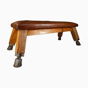 Europäische Vintage Turnbank oder Tisch aus patiniertem Leder, ca. 1950er